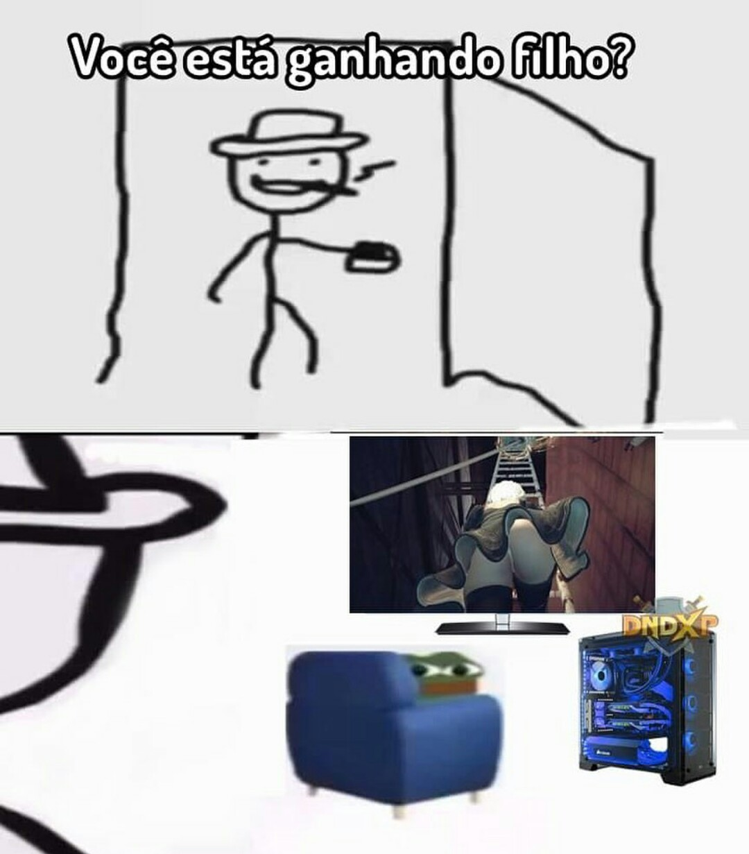 PC gamer pra renderizar a raba em 4k - meme