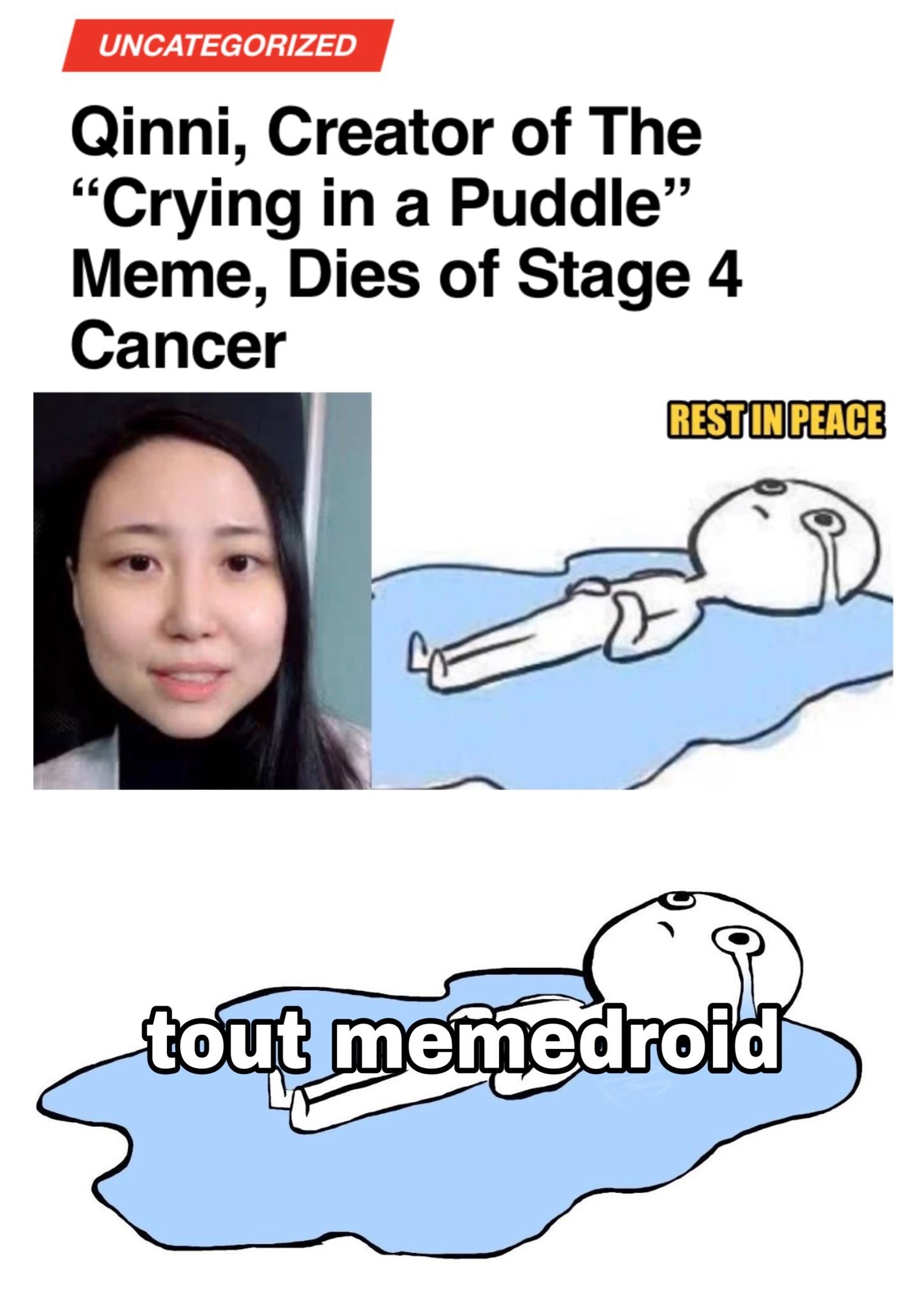 """La creatrice du meme """"Crying in a puddle"""" meurt d'un cancer en phase terminale à l'age de 29 ans."""