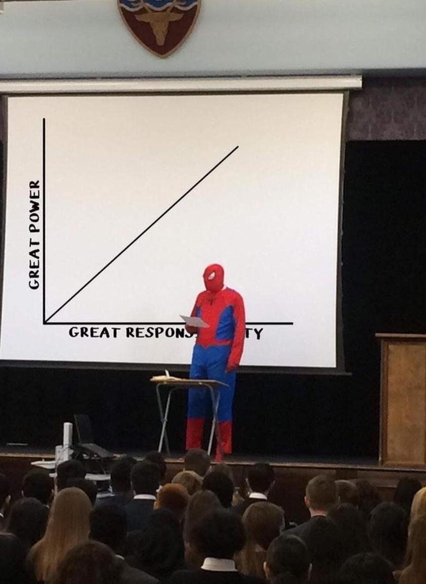 Grand pouvoir est égal à de grande responsabilité...heu non juste pouvoir - meme