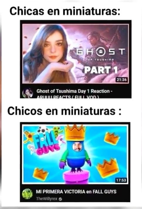En sus miniaturas de video - meme
