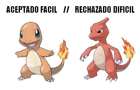 RECHAZADO DIFICIL, LA EVOLUCION DE ACEPTADO FACIL - meme