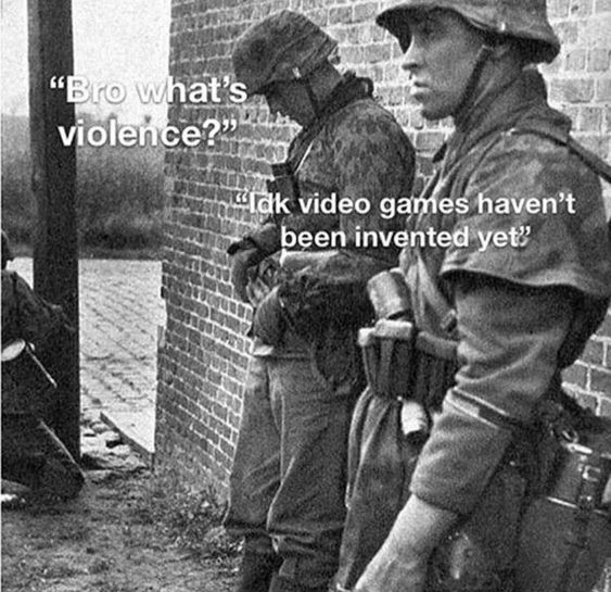 Soldiers just stood there and poked one another - meme