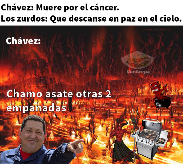 Chávez disfrutando. - meme