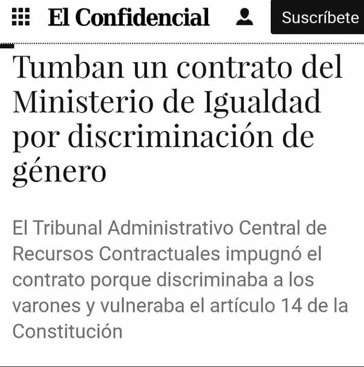 Tumban un contrato del Ministerio de IGUALDAD por discriminación de género - meme