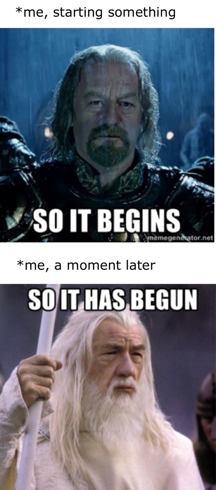 lotr all the way from start to strated - meme
