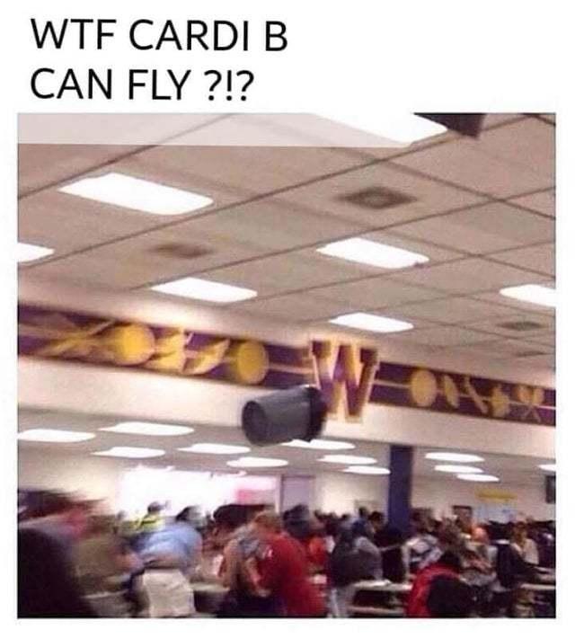 Cardi B can fly - meme