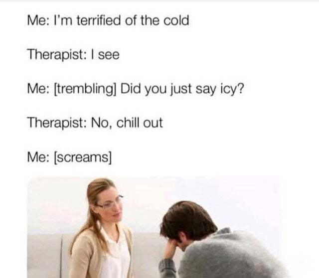 Terrified of the cold - meme