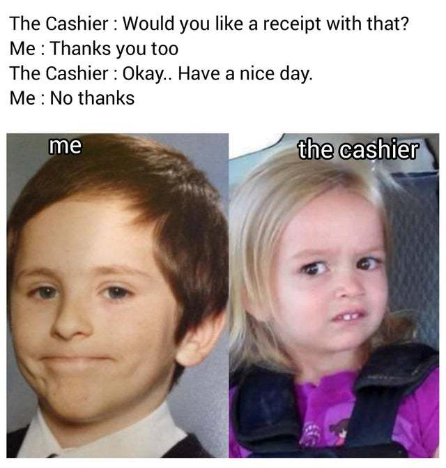 Confusing the cashier - meme