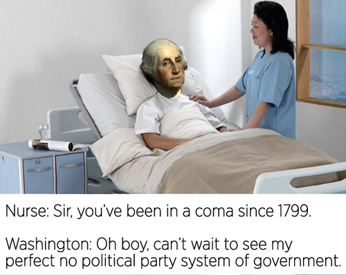 Poor Washington bleed to death because medical misunderstanding. - meme