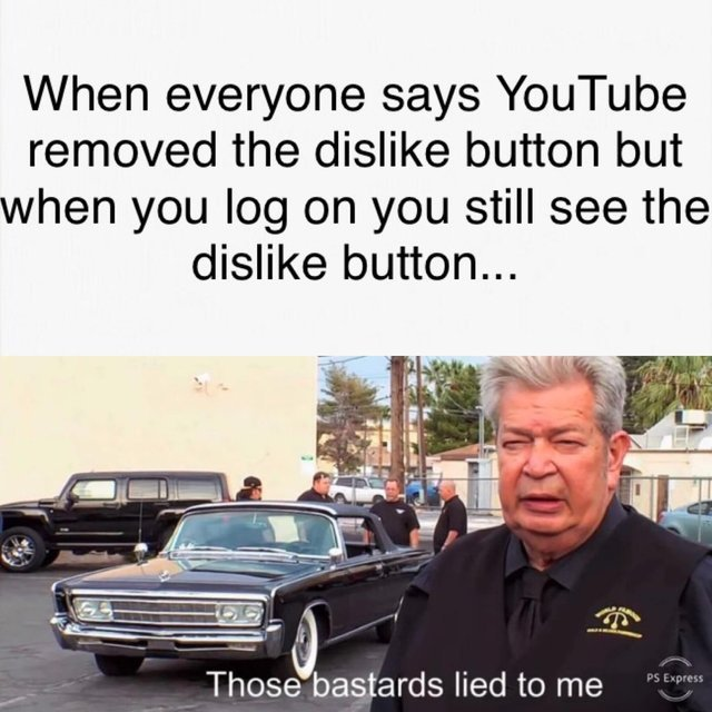 Youtube has not removed the dislike button yet - meme