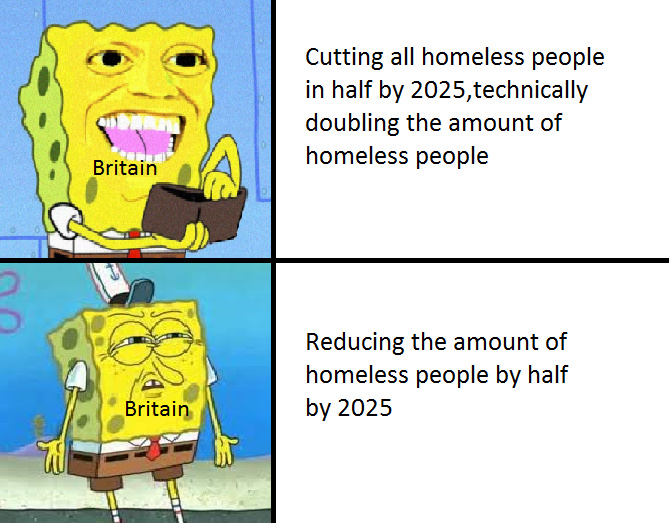 Britain could have reduced the amount of homeless people lol - meme