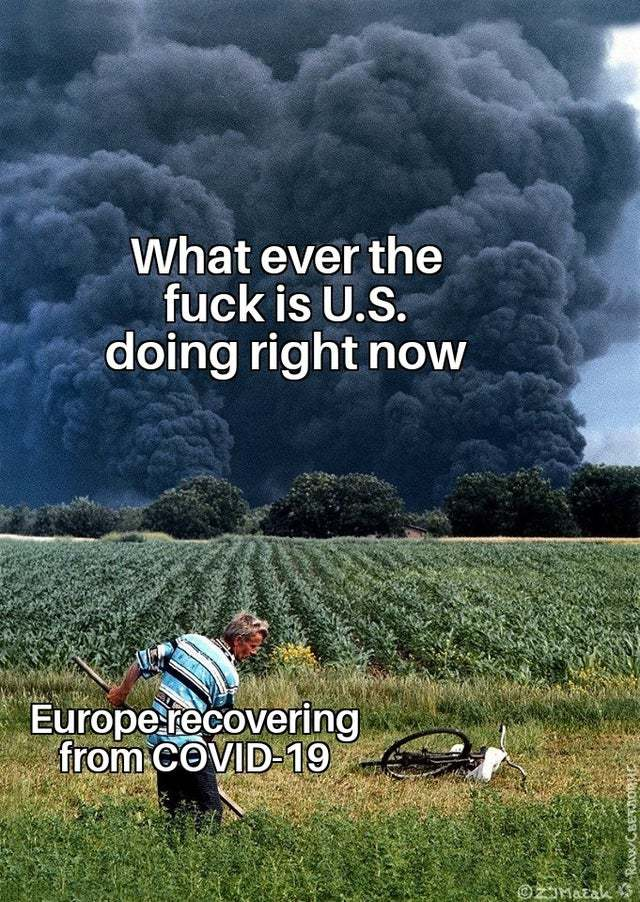 Europe recovering from Covid 19 - meme