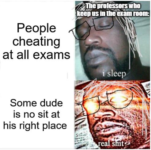 During a random exam - meme