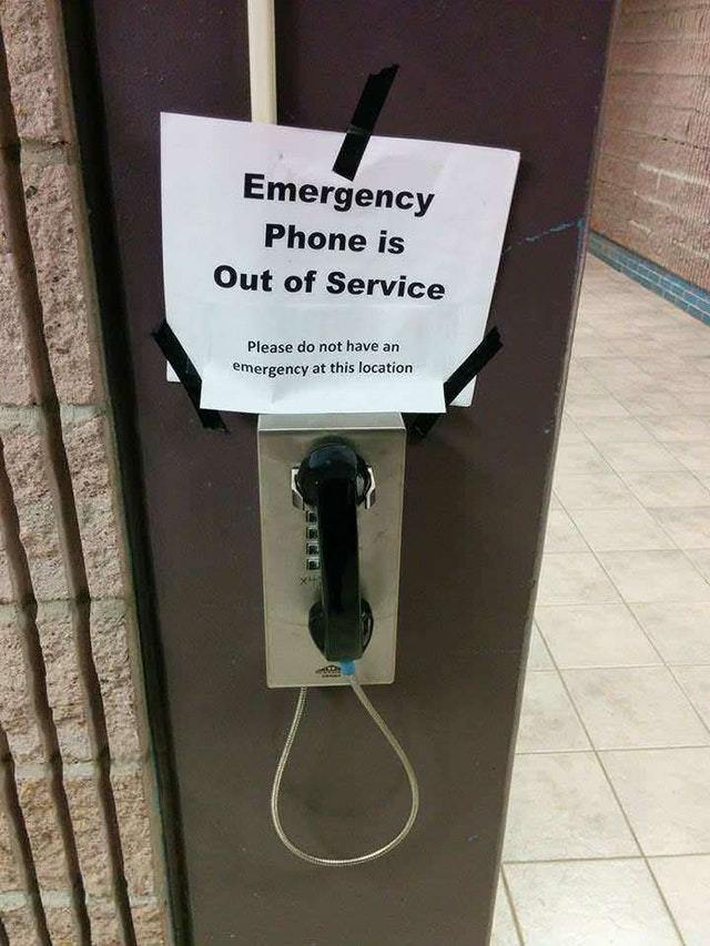 Emergency phone is out of service - meme