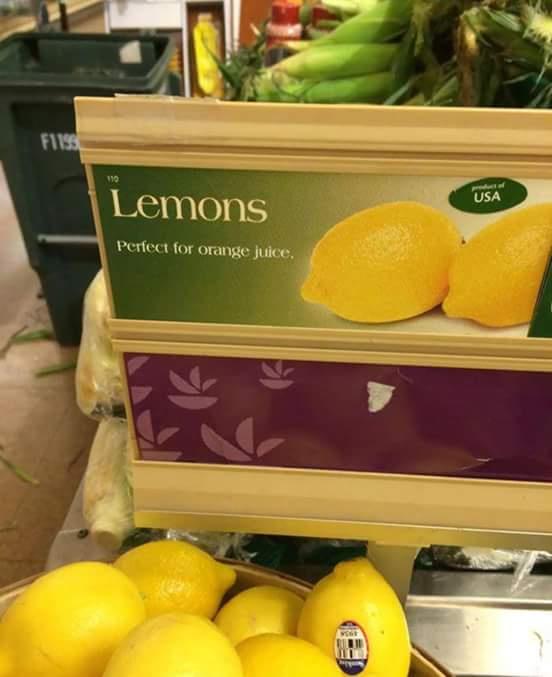 Tradução: Limões, perfeitos para suco de laranja. - meme