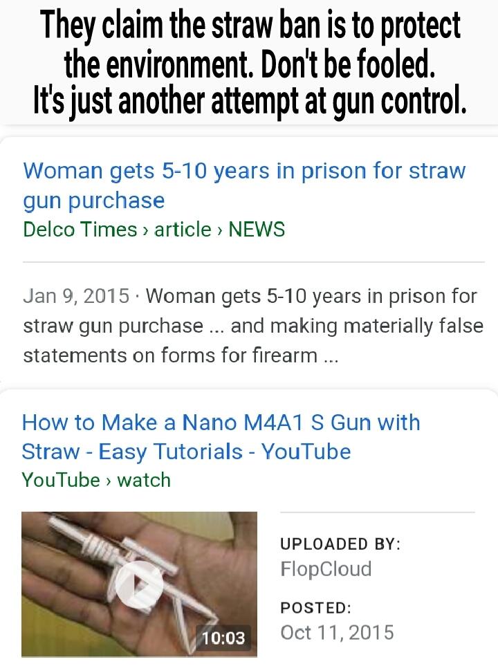 Straw Gun control? - meme