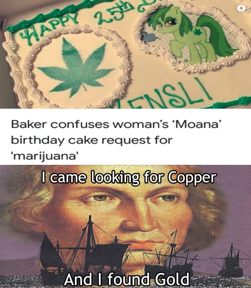 Baker confuses woman's Moana birthday cake request for marijuana - meme