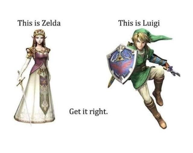 Get it right: this is Zelda, this is Luigi - meme