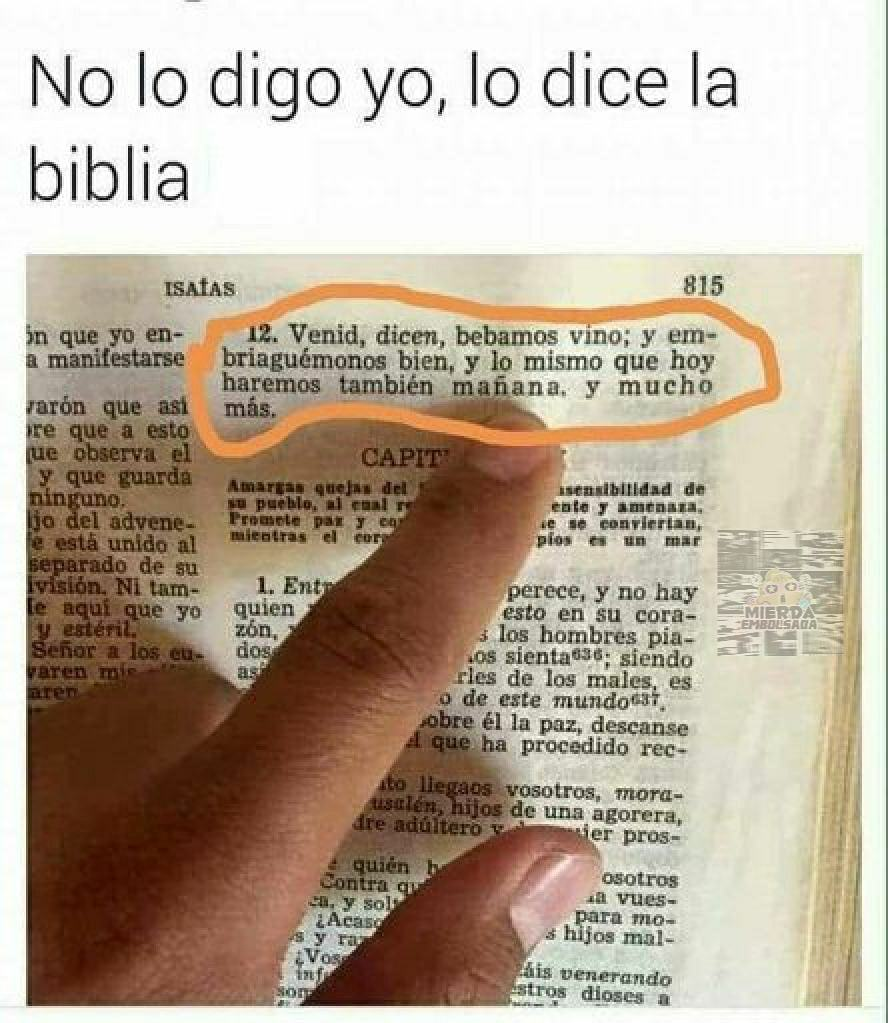 Ya es fin de semana y la biblia manda - meme