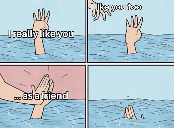 Falling in love can hurt sometimes - meme