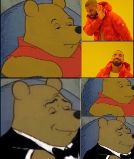 out with the shit in with the pooh - meme