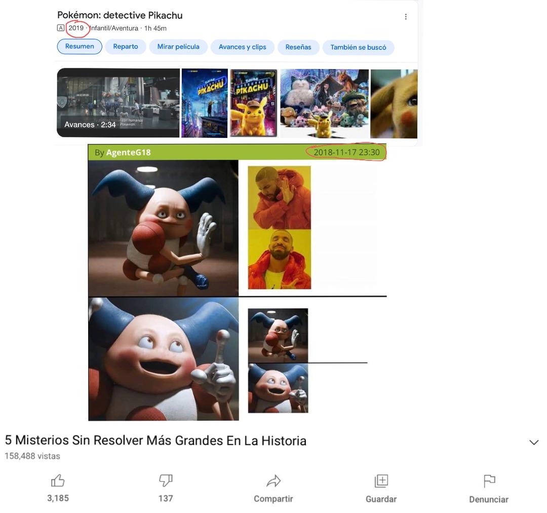Contexto: ese meme tiene una escena de la película, la película es de 2019 y el meme es de 2018