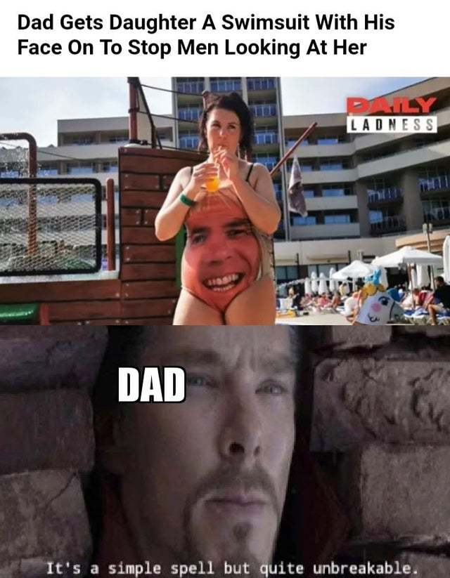 Dad gets daughter a swimsuit with his face on to stop men looking at her - meme