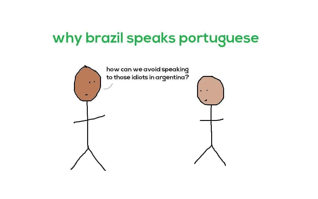 Porque brasileiros falam português - meme