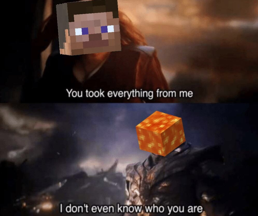 i just fucking died to lava and lost everything fml - meme