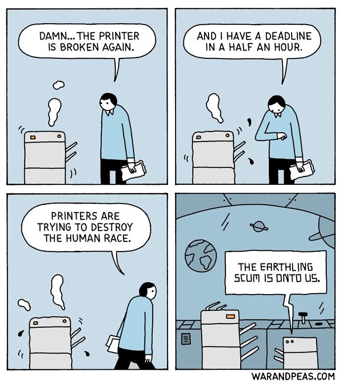 forget the zombie apocolypse-printer apocolypse - meme