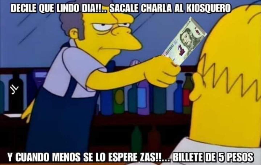 F en argentina por el billete de cinco pesos - meme