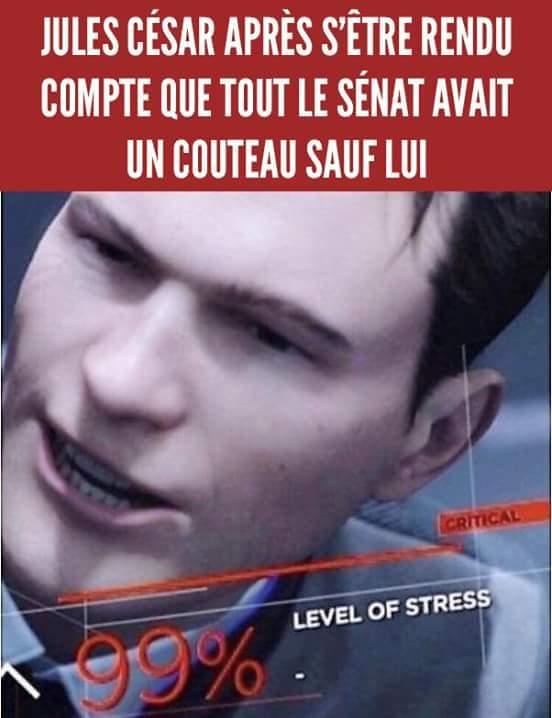 """99 % de stress"" - meme"