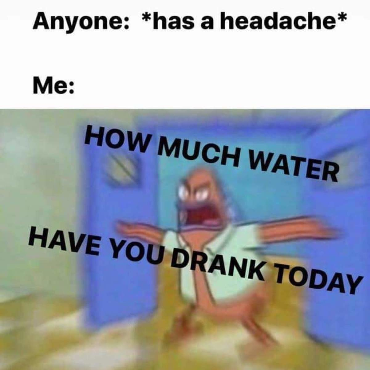 Avg. recommended amount for adults is between 2-4 liters per day - meme