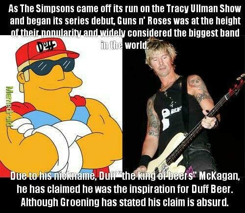"""Duff """"The King of Beers"""" McKagan vs. Duff Beer (1989-????) - meme"""