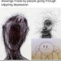 Desenho feito por pessoas com depressão, ou sla que merda tá escrito, tem o kyrbi bombado