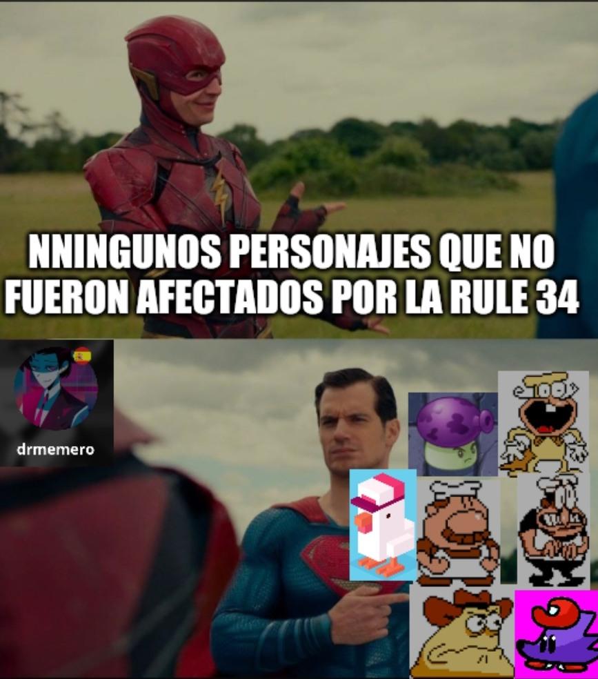 Los unicos personajes que sobrevivieron al ataque de la rule 34 - meme