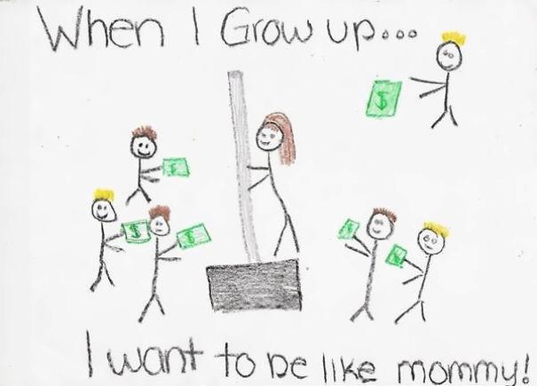 Cette petite fille a voulu représenter sa maman en train de vendre une pelle pour déblayer la neige au travail. Seulement on dirait légèrement que sa maman est une strip-tease sans cette petite explication... - meme