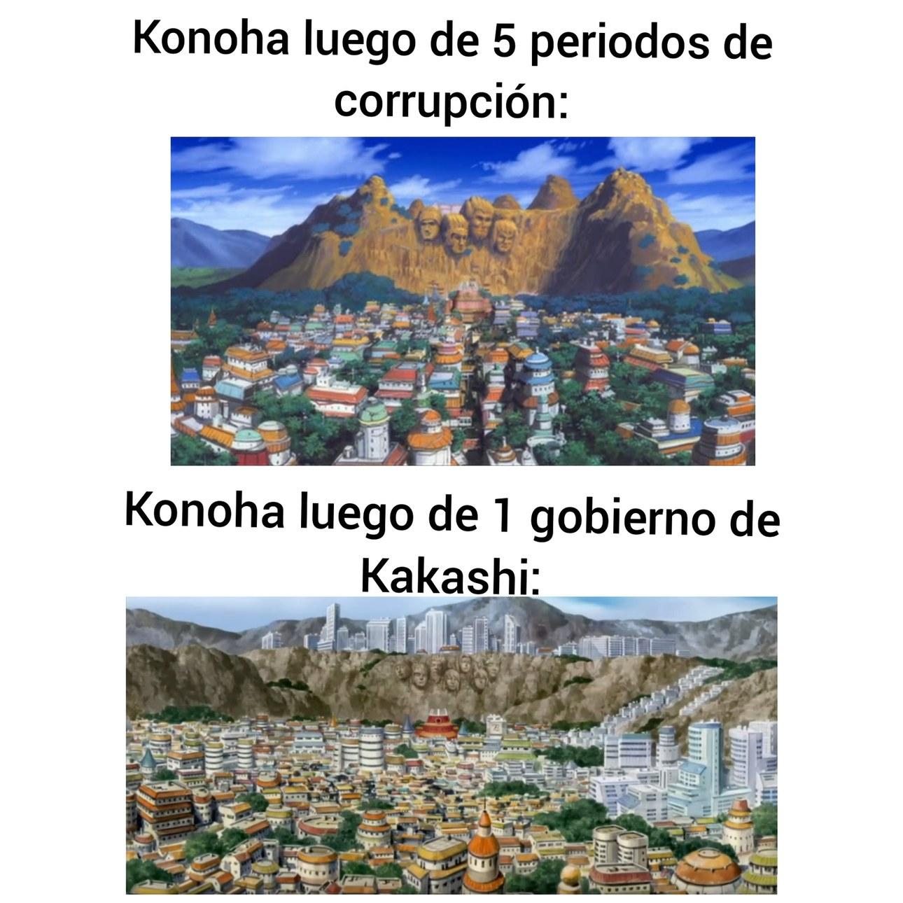 Kakashi recibió un país destruido por la guerra y la malversación de fondos - meme