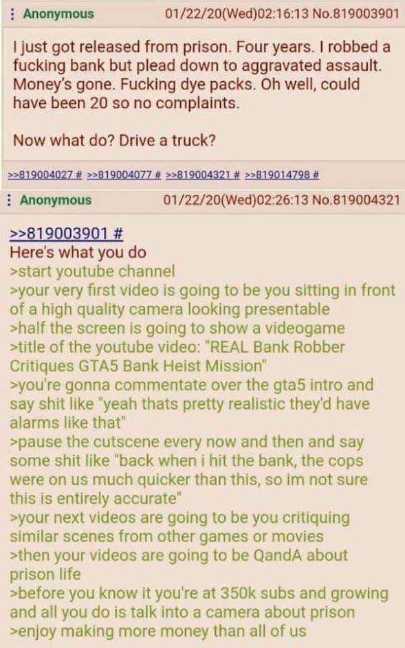Anon Gives Career Advice to Anon Felon - meme