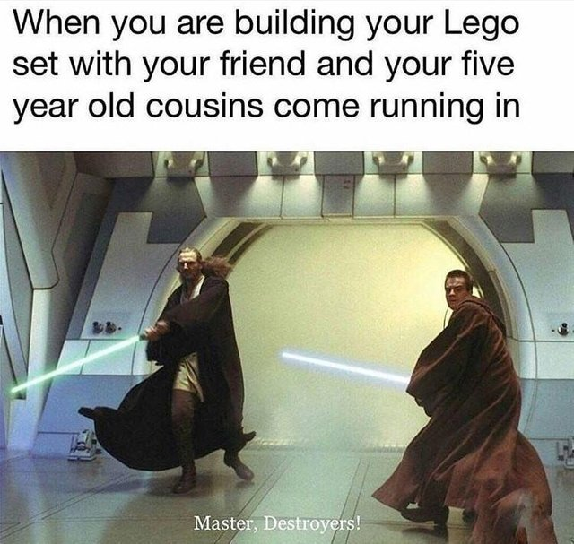 When you are building your Lego set with your friend and your five year old cousins come running in - meme