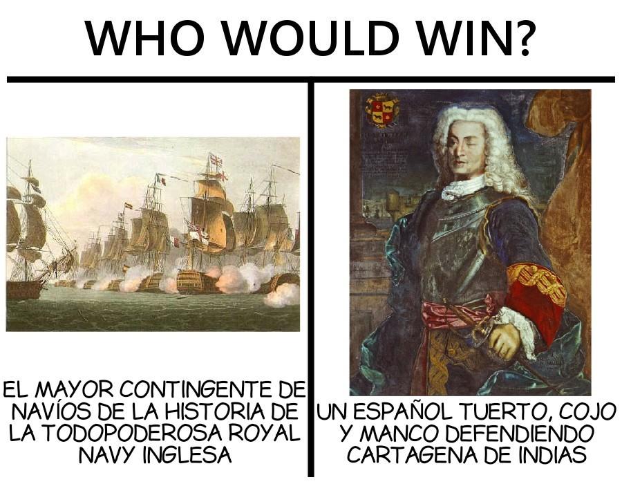 Blas de Lezo ganó con 6 barcos contra casi 200 de los ingleses - meme
