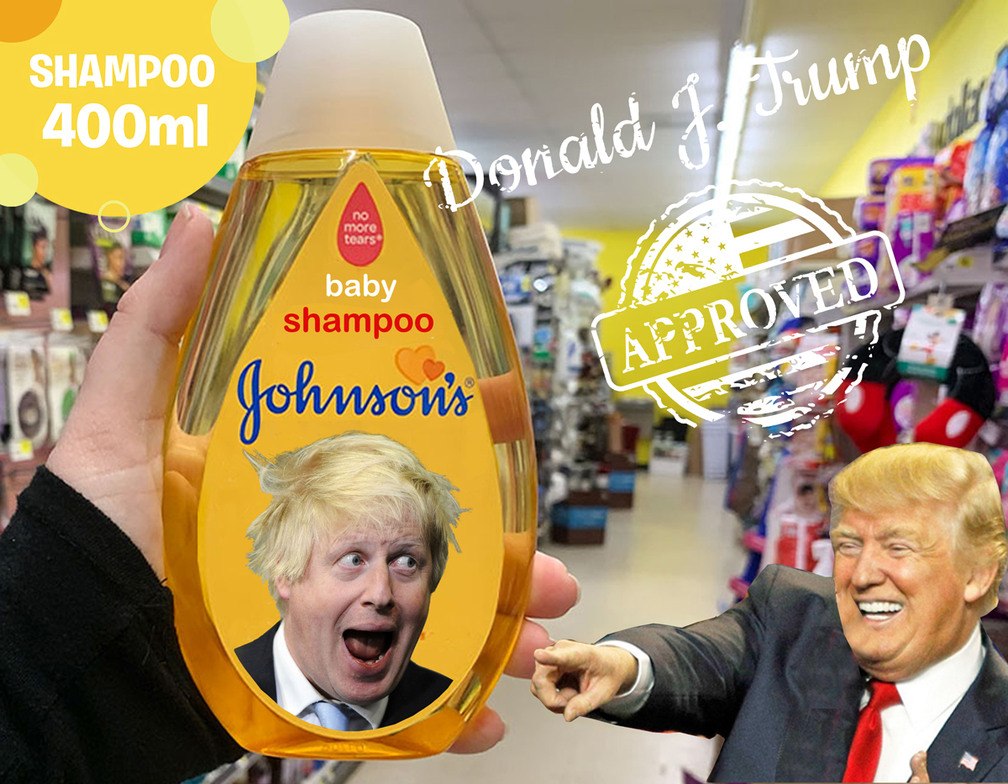 Nuevo champú para políticos, johnsons vs donald trump - meme