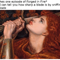 Sniff* smells Very sharp, Joan of Arc expert weapons checker painting