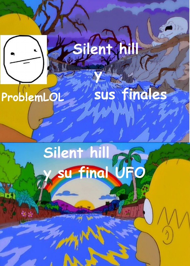 los finales ufo o ovni de silent hill son divertidas y quitan el terror del juego - meme