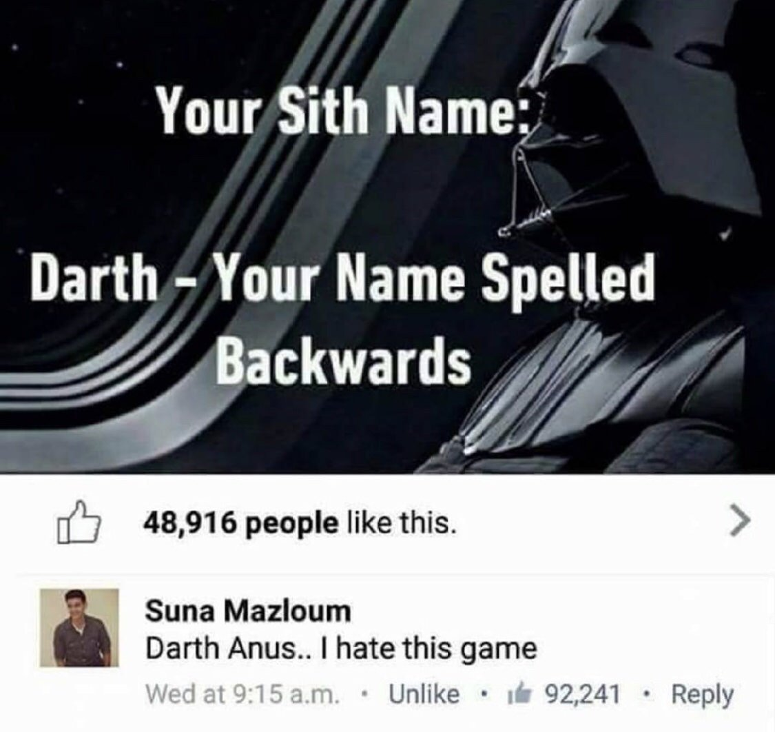 Darth Semaj? - meme