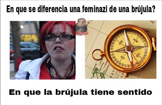 Brujula vs mujer con pelo en los sobacos - meme