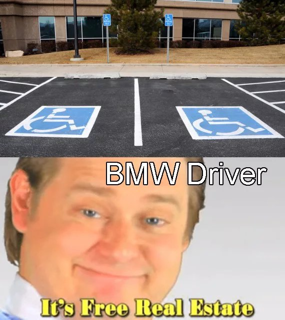 And he parks in the middle - meme