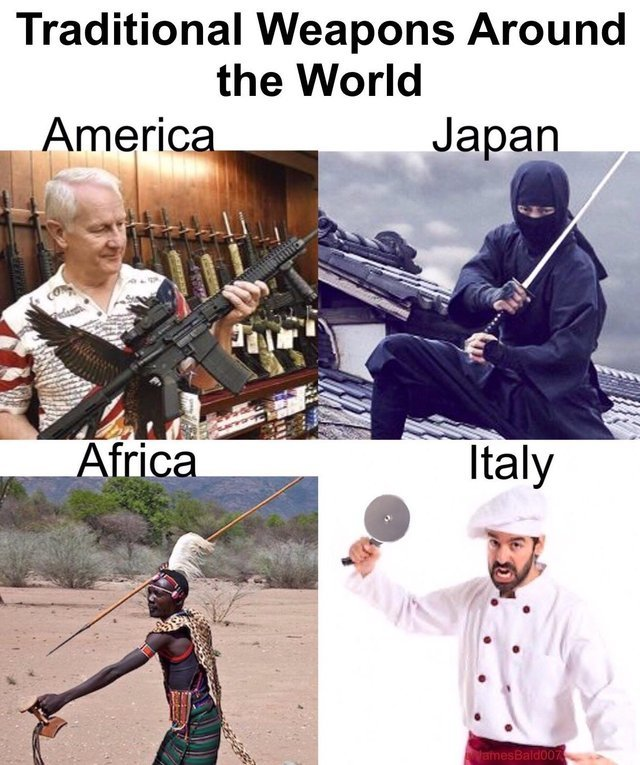 Traditional weapons around the World - meme