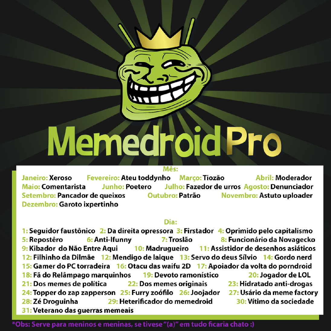 Descubra seu nome de Memedroider! Espero que gostem, deu bastante trabalho amiguinhos <3