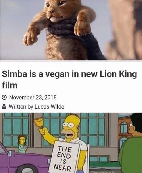 Simba is a vegan in new Lion King film - meme